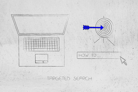 laptop with How To search engine bar and target with arrow, concept of researching and online information Stock Photo