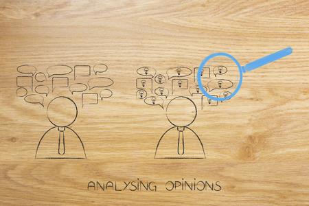 意見概念図を解く:スピーチバブルを持つ人々は、アイデアとそれらを拡大鏡で1つ 写真素材