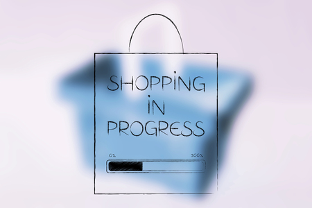 retail industry conceptual illustration: bag with shopping in progress caption and progress bar loading on it