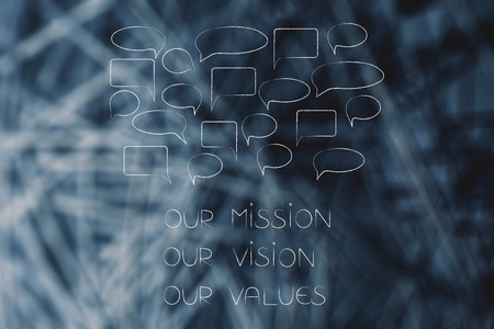 getting feedback conceptual illustration: Our mission our vision our values company philosophy text with speech bubbles