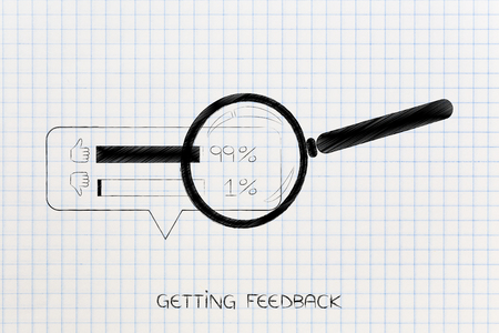 getting feedback conceptual illustration: magnifying glass analyzing thumbs up and thumbs down survey results