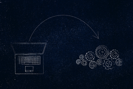 online transfers conceptual illustration: laptop and gearwheel mechanism with arrow out
