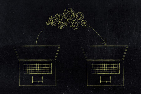 online transfers conceptual illustration: laptop and gearwheel mechanism with arrow moving from one to the other