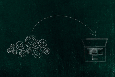 online transfers conceptual illustration: laptop and gearwheel mechanism with arrow in
