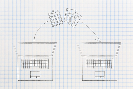 online transfers conceptual illustration: laptop and documents with arrow moving from one to the other