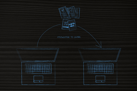 online transfers conceptual illustration: laptop and science documents with arrow moving from one to the other