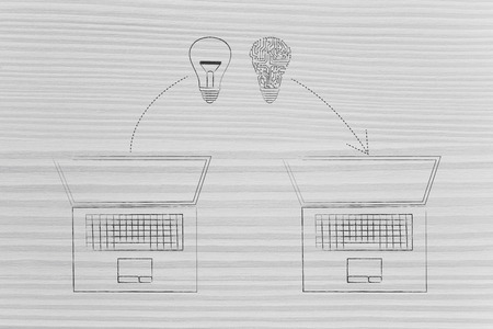 online knowledge sharing conceptual illustration: laptops exchanging light bulbs symbol of ideas, one made of digital circuits
