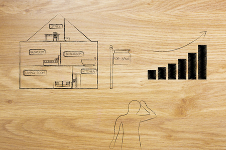 real estate prices and market trends conceptual illustration: house with selling price stats going up and concerned potential buyer Standard-Bild