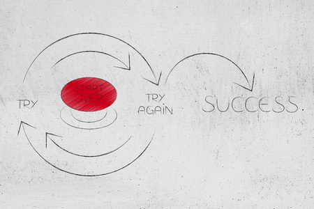 Start Over button into Try and Try Again until Success graph with repetitive cycle and arrows, concept of changing life or working hard until you reach your goals