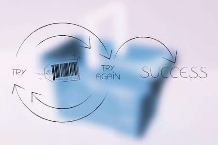 Marketing tag icon into Try and Try Again until Success graph with repetitive cycle and arrows, concept of attracting customers Stock Photo