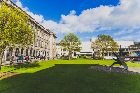 DUBLIN, IRELAND- April 25th, 2018: view of the courtyard of the famous Trinity college in Dublin city centre Editorial
