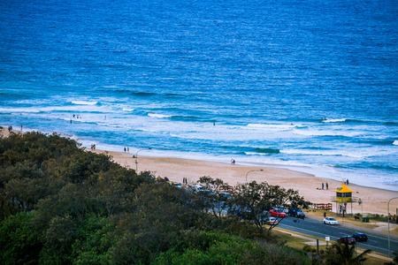 GOLD COAST, AUSTRALIA - December 26th, 2013: coastline detail of Surfers Paradise, Gold Coast in Queensland