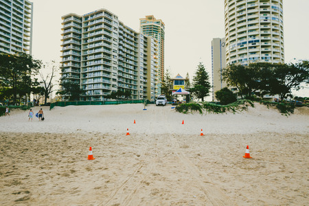 GOLD COAST, AUSTRALIA - January 1st, 2014: the beach and landscape in Surfers Paradise on the Gold Coast, a popular destination in Queensland