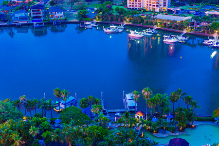 GOLD COAST, AUSTRALIA - December 26th, 2013: view of the residential areas along the river and water inlets in Surfers Paradise, Gold Coast in Queensland Editorial