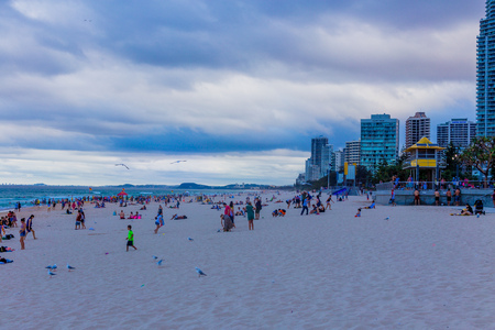 GOLD COAST, AUSTRALIA - December 28th, 2013: the beach and landscape in Surfers Paradise on the Gold Coast, a popular destination in Queensland