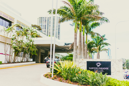 GOLD COAST, AUSTRALIA - December 27th, 2013: detail of the Surfers Paradise Marriott Hotel on the Gold Coast Editorial