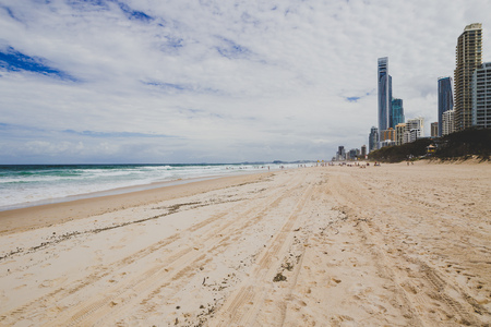 GOLD COAST, AUSTRALIA - January 9th, 2014: the beach and landscape in Surfers Paradise on the Gold Coast, a popular destination in Queensland Editorial