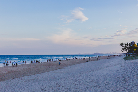 GOLD COAST, AUSTRALIA - January 2nd, 2014: the beach and landscape in Surfers Paradise on the Gold Coast, a popular destination in Queensland Editorial