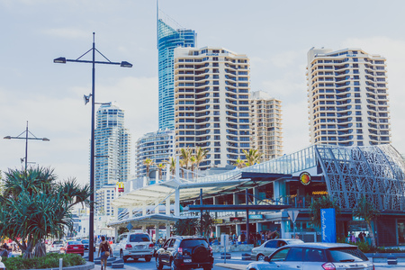 GOLD COAST, AUSTRALIA - December 28th, 2013: details of the city centre in SUrfers Paradise on the Gold Coast, a popular destination in Queensland