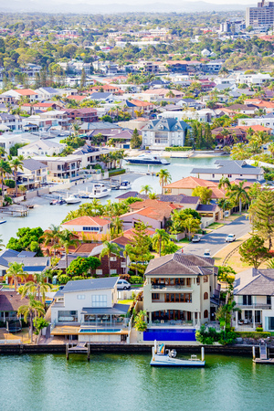 GOLD COAST, AUSTRALIA - January 5th, 2014: view of the residential areas along the river and water inlets in Surfers Paradise, Gold Coast in Queensland