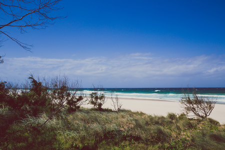 the beach and landscape in Surfers Paradise on the Gold Coast, a popular destination in Queensland Banco de Imagens