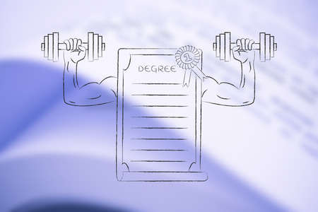 strong degree conceptual illustration: diploma with muscled arms lifting dumbbells Stock Photo