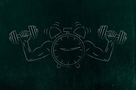 build a strong schedule conceptual illustration: alarm with muscled arms holding dumbbells