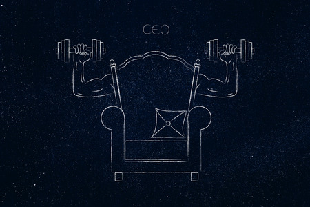 build a strong role conceptual illustration: CEO chair with muscled arms holding dumbbells