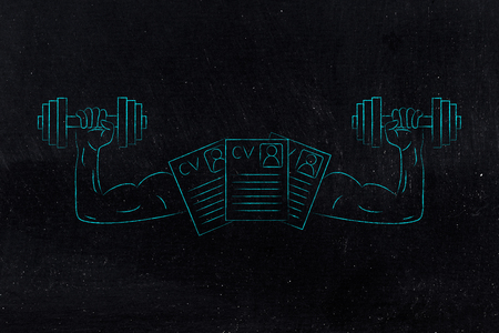 build a strong resume conceptual illustration: cv documents with muscled arms lifting dumbbells