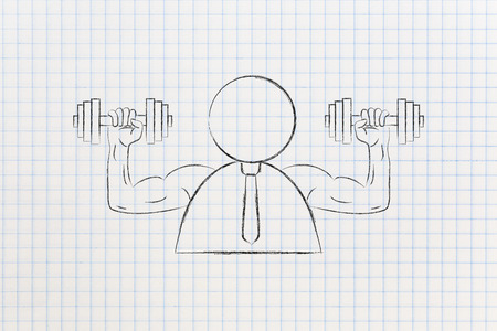 build a strong attitude conceptual illustration: businessman with muscled arms holding dumbbells