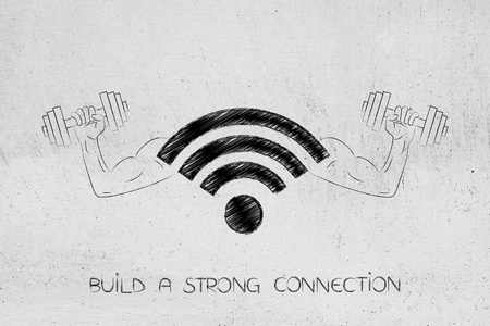 build a strong connection conceptual illustration: wifi symbol with muscled arms holding dumbbells