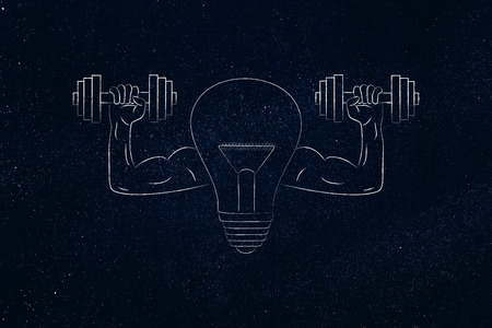build innovation conceptual illustration: strong idea light bulb symbol with muscled arms holding dumbbells Stock Photo