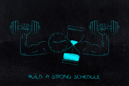build a strong schedule conceptual illustration: clock and hourglass with muscled arms holding dumbbells Stock Photo