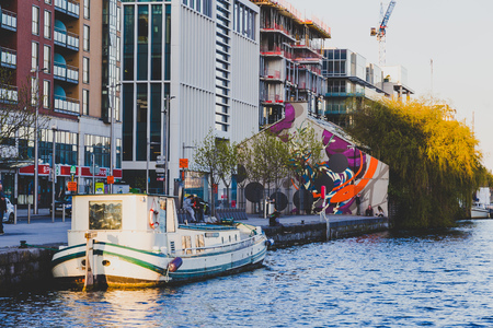DUBLIN, IRELAND - April 30th, 2018: Evening view of Grand Canal Dock in Dublin city