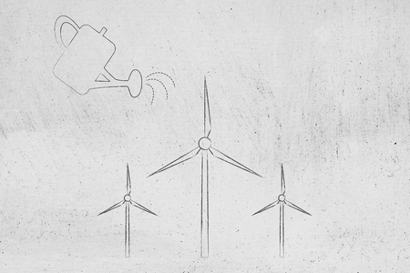 growing towards a greener economy conceptual illustration: watering can and wind turbines