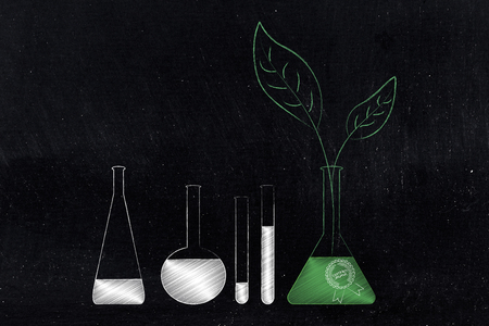 organic ingredients conceptual illustration: lab phials with chemicals and another bottle with green ingredients and leaves growing from it Stock fotó