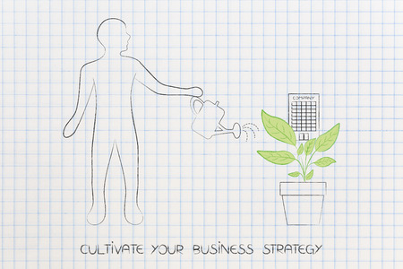 grow your business strategy conceptual illustration: man watering a plant with company growing out of it