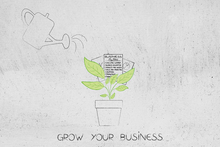grow your business conceptual illustration: watering a plant with business plan growing out of it