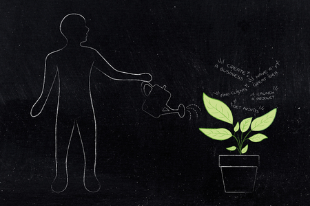 cultivate your business dreams conceptual illustration: man watering plant with start-up goals growing out of it