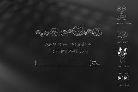 website analytics, seo and performance conceptual illustration: search engine optimization bar next to more followers views clicks and likes icons