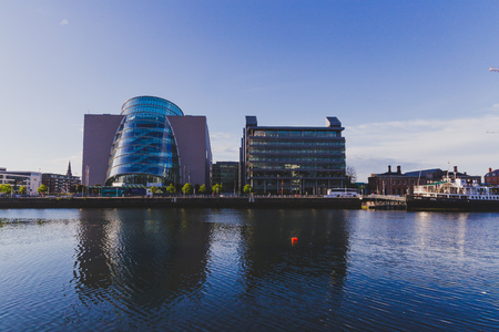 DUBLIN, IRELAND - May 12th, 2018 view of the Convention Centre in Dublin as seen from across the river Liffey Editorial