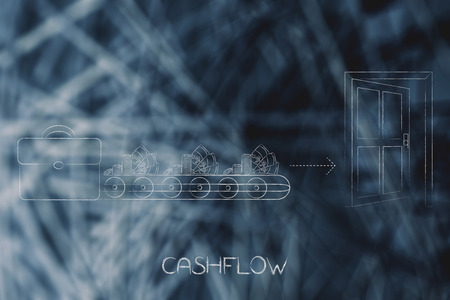 cashflow conceptual illustration: office bag with production line of cash going out of it towards an open door metaphor of spending money