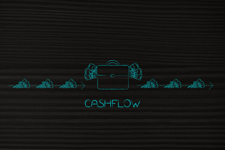 cashflow conceptual illustration: bag full of money with dashed arrows of cash going in and out of it with earning and expenses Stock Photo