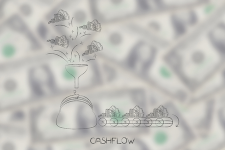 cashflow conceptual illustration: coin purse with funnel of cash coming into it and production line of cash going out metaphor of profits and expenses