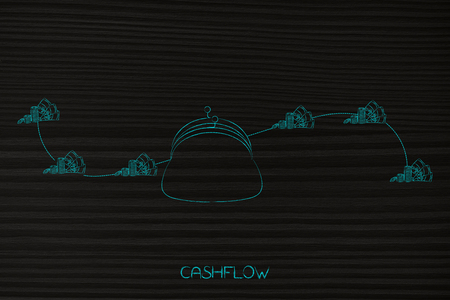 cashflow conceptual illustration: coin purse with waves of money coming into and out of it symbol of budgeting profits and expenses