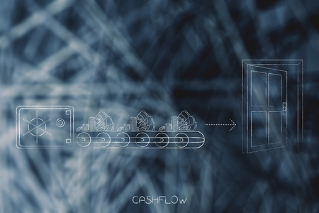 cashflow conceptual illustration: safebox with production line of cash going out of it towards an open door metaphor of spending money Stock Photo