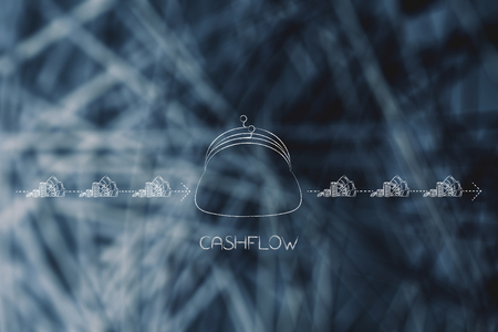 cashflow conceptual illustration: coin purse with dashed arrows of cash going in and out of it with earning and expenses Stock Photo