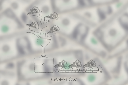 cashflow conceptual illustration: office bag with funnel of cash coming into it and production line of cash going out metaphor of profits and expenses