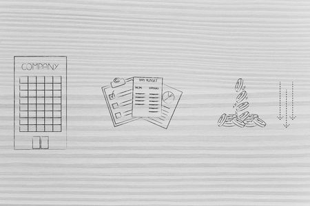 budgeting and financial cashflow conceptual illustration: company building next to stats documents with bad budget and coins with arrows down Foto de archivo