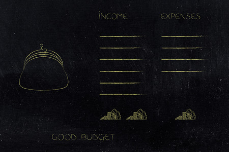 maintain a good budget conceptual illustration: coin purse with list of income and expenses side by side with more earnings than spending 스톡 콘텐츠